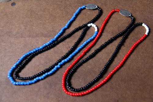CUTRATE BEADS NECKLACE MADE BY LARRY SMITH MADE BLUE,RED(カットレート・ビーズネックレス・ラリースミス・ブルー/レッド)