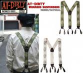AT-DIRTY WORKERS SUSPENDERST GREEN/NATURAL(アットダーティー・ワーカーサスペンダー・グリーン・ナチュラル)