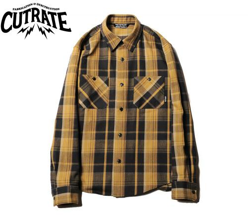 CUTRATE L/S CHECK SHIRT MUSTARD(カットレイト・ロングスリーブチェックシャツ・マスタード)