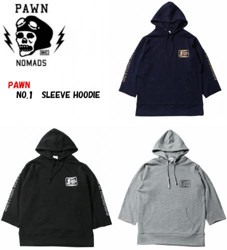 PAWN NO.1 SLEEVE HOODIE 92304 BLACK/GRAY/NAVY