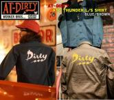 AT-DIRTY ATD THUNDER L/S SHIRT BROWN/BLUE(アットダーティー・ATDサンダーロングスリーブシャツ・ブラウン/ブルー)