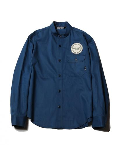 CUTRATE  L/S BAND COLLAR WORK SHIRT NAVY(カットレイト・ロングスリーブバンドカラーワークシャツ・ネイビー)