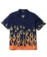 CUTRATE  S/S FLAME SHIRT NAVY(カットレート・半袖フレームスシャツ・ネイビー)