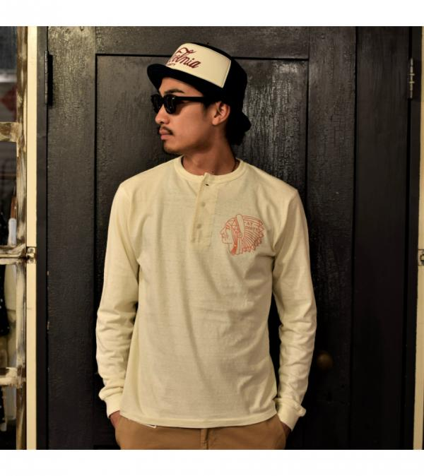 AT-DIRTY INDIAN L/S HENRY TEE  NATURAL(アットダーティー・インディアンヘンリー長袖Tシャツ・ナチュラル)