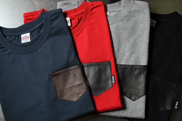 CUTRATE LEATHER POCKET T-SHIRT  RED(カットレート・レザーポケットTシャツ・レッド)