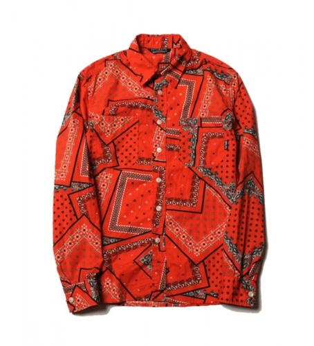 CUTRATE BANDANNA PATTERN L/S SHIRT・ORANGE
