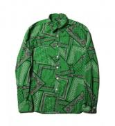 CUTRATE BANDANNA PATTERN L/S SHIRT・GREEN(カットレイト・バンダナパターンロングスリーブシャツ・グリーン)