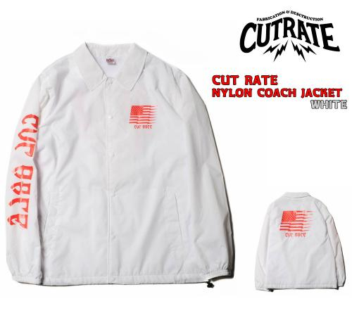 【SALE 30%OFF】 CUTRATE NYLON COACH JACKET WHITE(カットレート・ナイロンコーチジャケット・ホワイト)