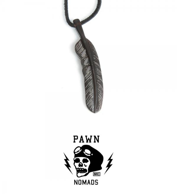 PAWN NOMADS FEATHER 96914 BLACK BROWN(パウン・ノマド フェザーネックレス・ブラック ブラウン)