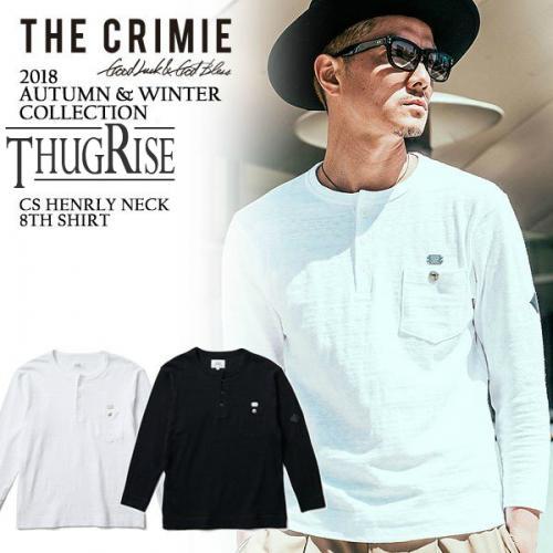 CRIMIE CS HENRLY NECK 8TH SHIRT・WHITE/BLACK
