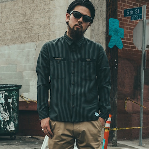 CRIMIE STRIPE WORK SHIRT BLACK/NAVY/GRAY