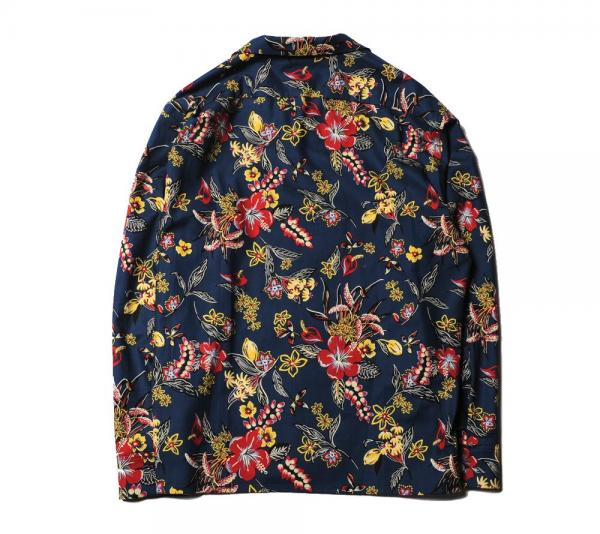 CUTRATE FLOWER PATTERN L/S SHIRT NAVY(カットレイト・フラワーパターンロングスリーブシャツ・ネイビー)