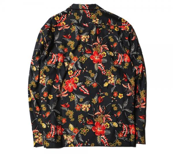 CUTRATE FLOWER PATTERN L/S SHIRT BLACK(カットレイト・フラワーパターンロングスリーブシャツ・ブラック)