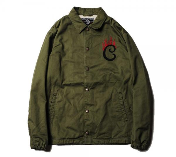 CUTRATE FLAME LOGO COTTON COACH JACKET OLIVE(カットレイト・フレームロゴコットンコーチジャケットジャケット・オリーブ)