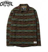 【SALE 30%OFF】CUTRATE PULLOVER NATIVE BORDER L/S SHIRT BLACK(カットレート・プルオーバーネーティブボーダーロングスリーブシャツ・ブラック)