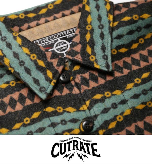 【SALE 20%OFF】CUTRATE PULLOVER NATIVE BORDER L/S SHIRT BLACK(カットレート・プルオーバーネーティブボーダーロングスリーブシャツ・ブラック)
