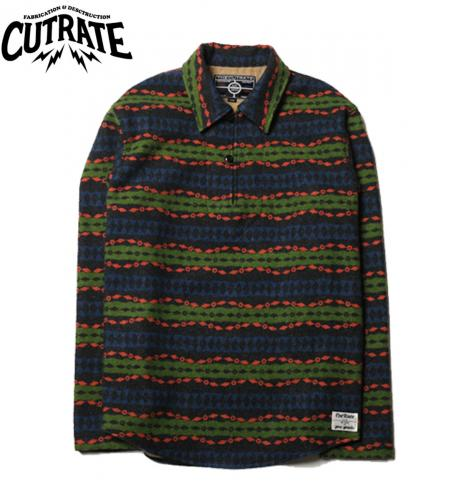 CUTRATE PULLOVER NATIVE BORDER L/S SHIRT NAVY
