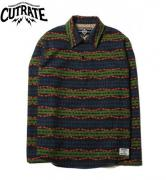 【SALE 20%OFF】CUTRATE PULLOVER NATIVE BORDER L/S SHIRT NAVY(カットレート・プルオーバーネーティブボーダーロングスリーブシャツ・ネイビー)