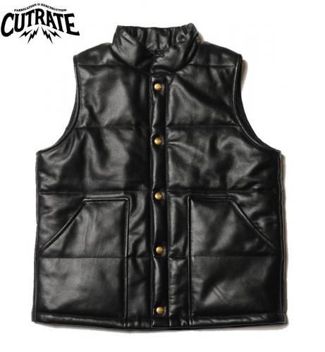 CUTRATE LEATHER VEST BLACK(カットレート・レザーベスト・ブラック)