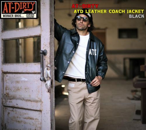 AT-DIRTY ATD LEATHER COACH JACKET BLACK(アットダーティー・ATDレザーコーチジャケット・ブラック)