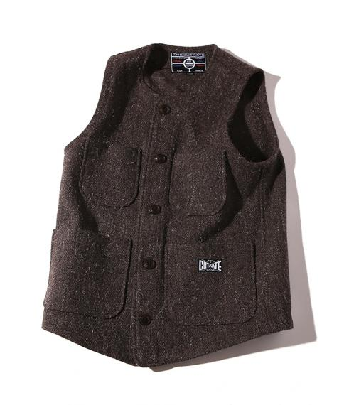 CUTRATE WOOL VEST BROWN(カットレート・ウールベスト・ブラウン)