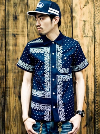 "【SALE 30%OFF】Provider  KEEP ROLLING ""Bandana Shirt"" NAVY"